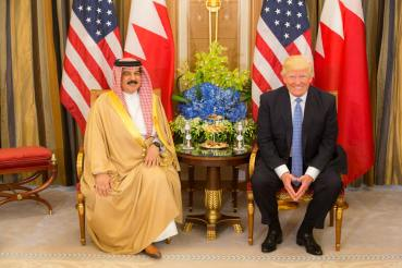 President Donald Trump meeting with King Hamed bin Issa of Bahrain in Riyadh, Saudi Arabia on Sunday; Official White House Photo Courtesy of Shealah Craighead