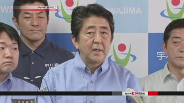 snapshot Abe at press conference regarding floods